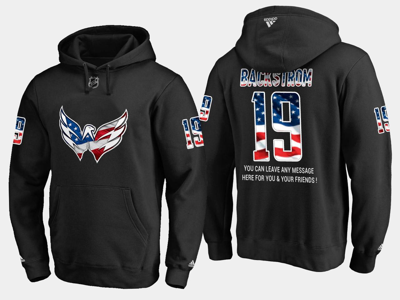 Capitals #19 Nicklas Backstrom NHL Banner Wave Usa Flag Black Hoodie