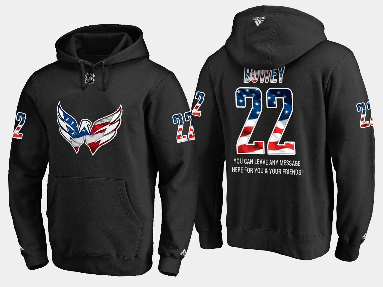 Capitals #22 Madison Bowey NHL Banner Wave Usa Flag Black Hoodie