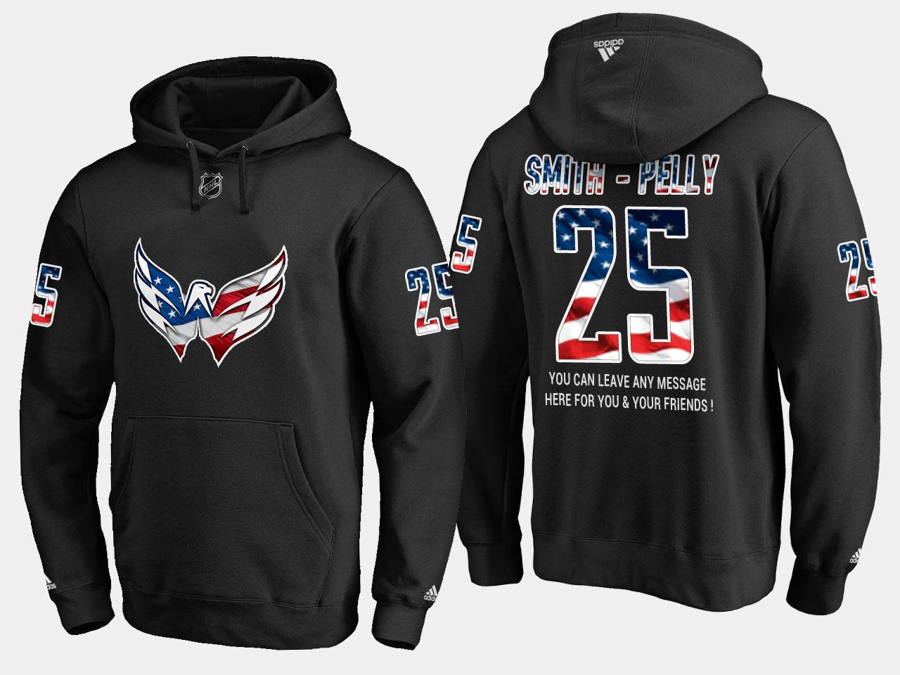 Capitals #25 Devante Smith NHL Banner Wave Usa Flag Black Hoodie