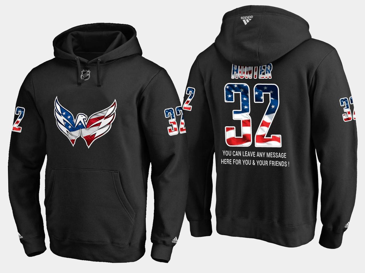 Capitals #32 Dale Hunter NHL Banner Wave Usa Flag Black Hoodie