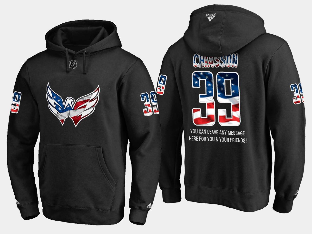 Capitals #39 Alex Chiasson NHL Banner Wave Usa Flag Black Hoodie