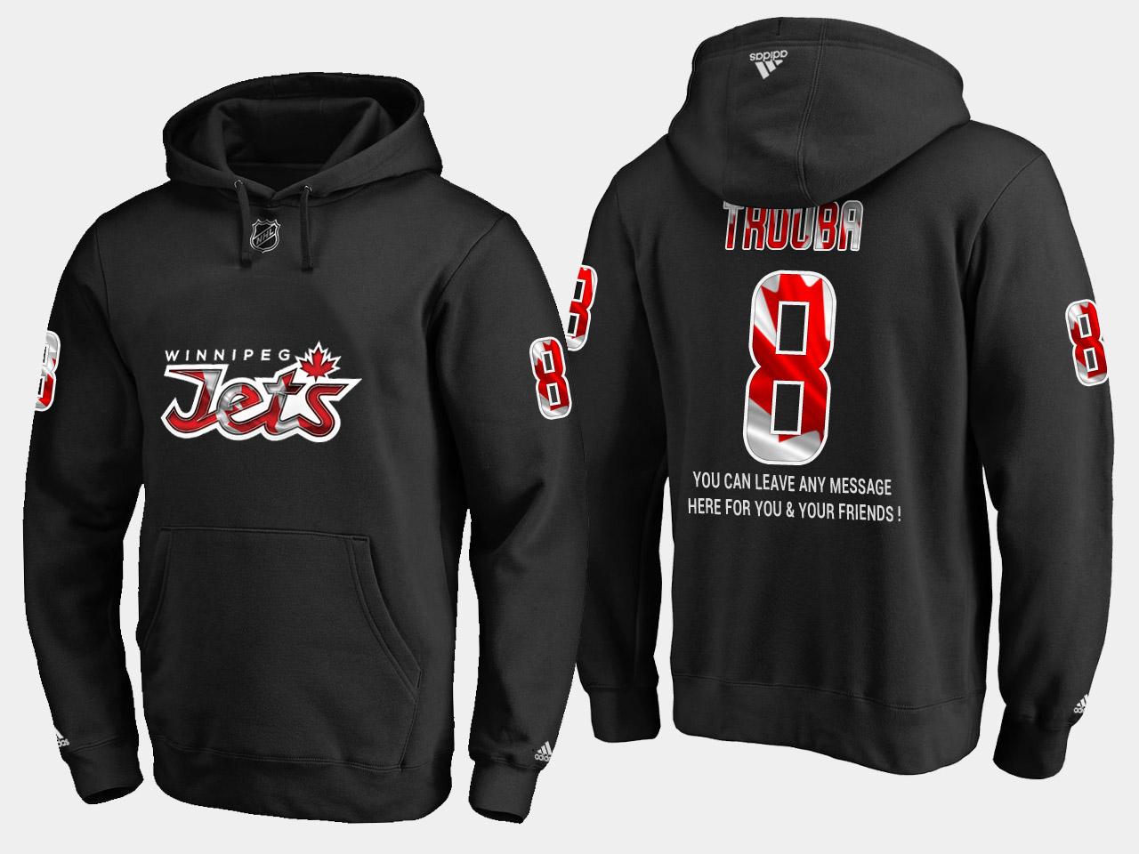 Jets #8 Jacob Trouba NHL Banner Wave Usa Flag Black Hoodie