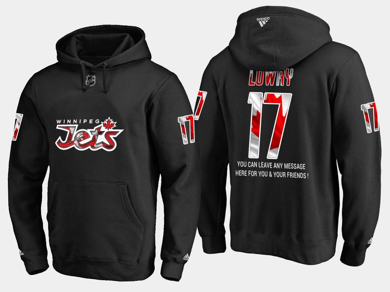 Jets #17 Adam Lowry NHL Banner Wave Usa Flag Black Hoodie