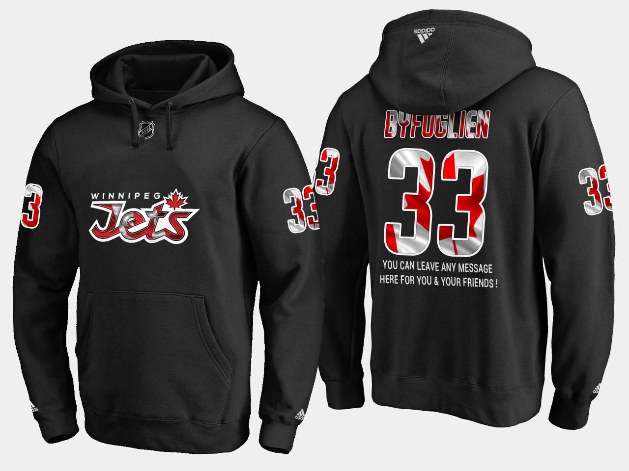 Jets #33 Dustin Byfuglien NHL Banner Wave Usa Flag Black Hoodie