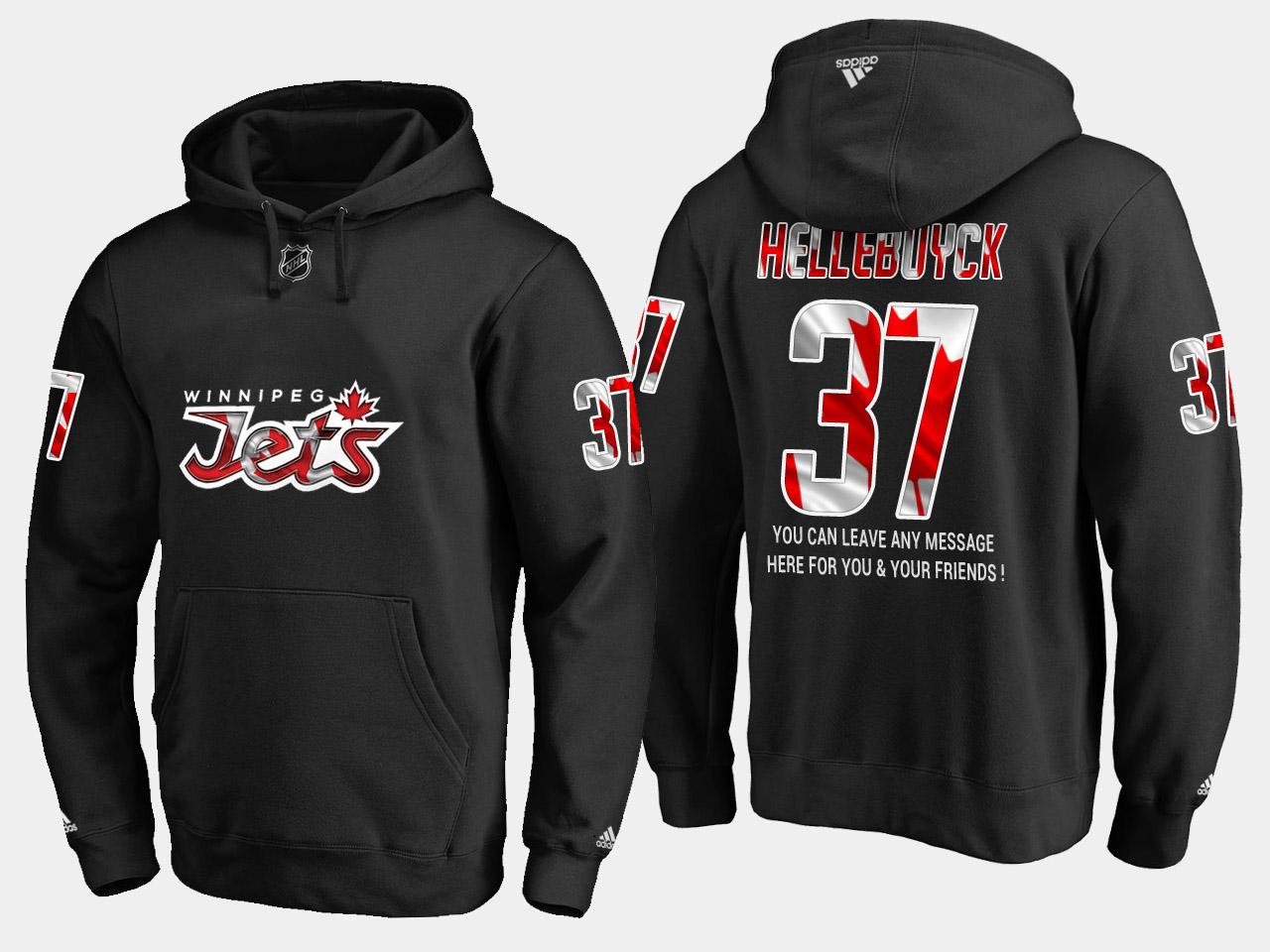 Jets #37 Connor Hellebuyck NHL Banner Wave Usa Flag Black Hoodie