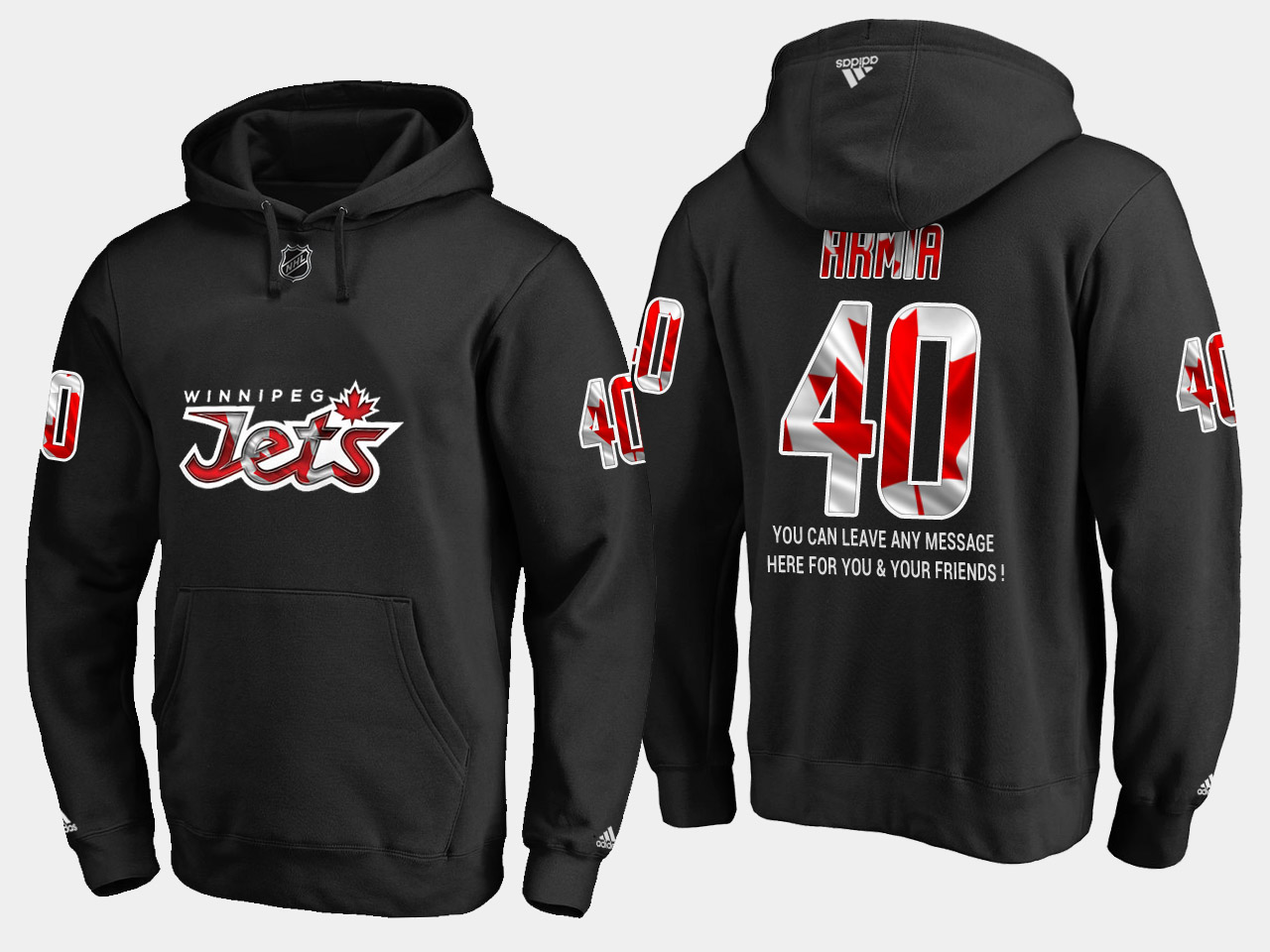 Jets #40 Joel Armia NHL Banner Wave Usa Flag Black Hoodie