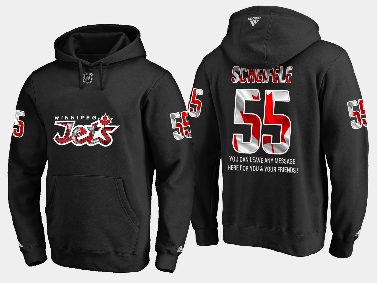 Jets #55 Mark Scheifele NHL Banner Wave Usa Flag Black Hoodie