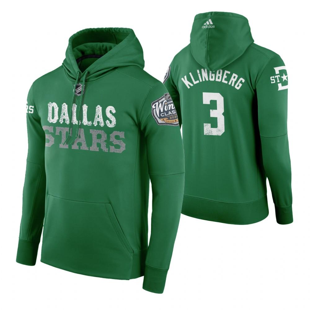 Adidas Stars #3 John Klingberg Men's Green 2020 Winter Classic Retro NHL Hoodie