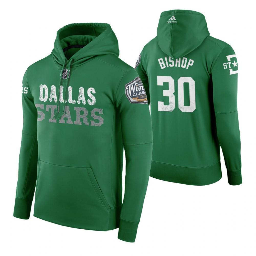 Adidas Stars #30 Ben Bishop Men's Green 2020 Winter Classic Retro NHL Hoodie
