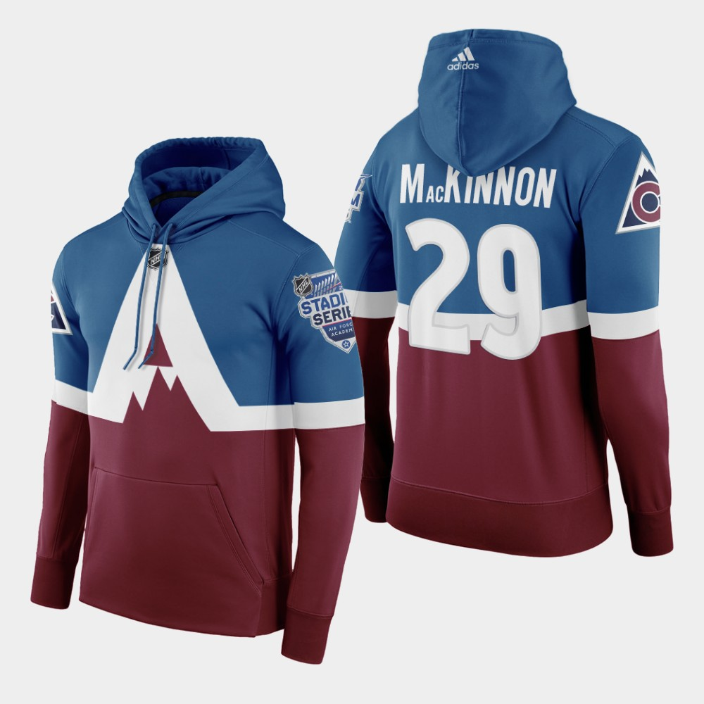 Adidas Colorado Avalanche #29 Nathan Mackinnon Men's Burgundy 2020 Stadium Series Hoodie