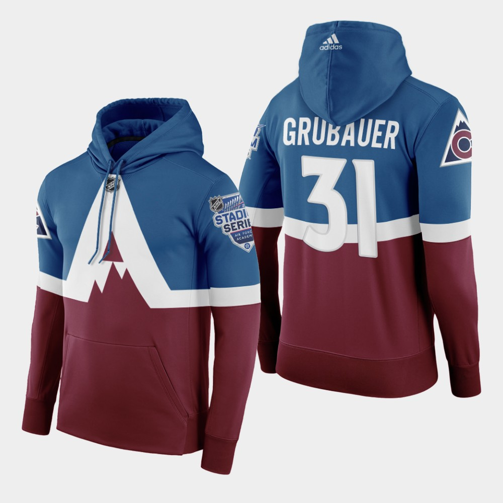 Adidas Colorado Avalanche #31 Philipp Grubauer Men's Burgundy 2020 Stadium Series Hoodie