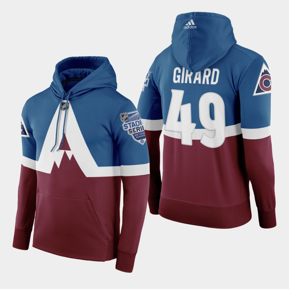 Adidas Colorado Avalanche #49 Samuel Girard Men's Burgundy 2020 Stadium Series Hoodie