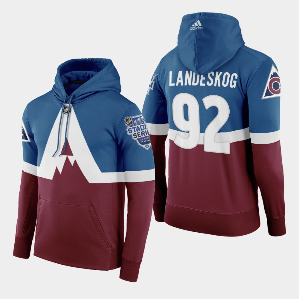 Adidas Colorado Avalanche #92 Gabriel Landeskog Men's Burgundy 2020 Stadium Series Hoodie