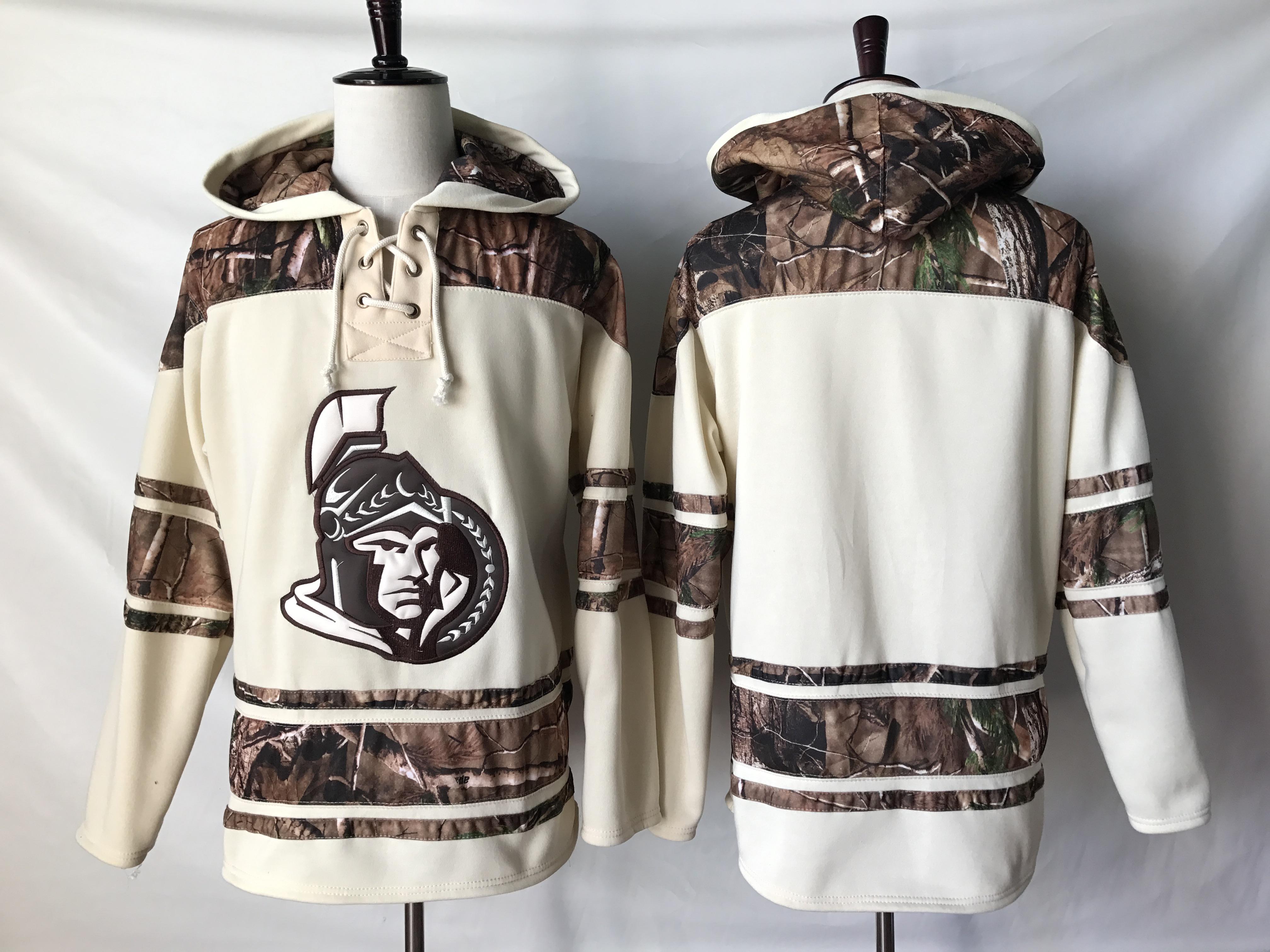 Senators Blank Cream Camo NHL Hoodie
