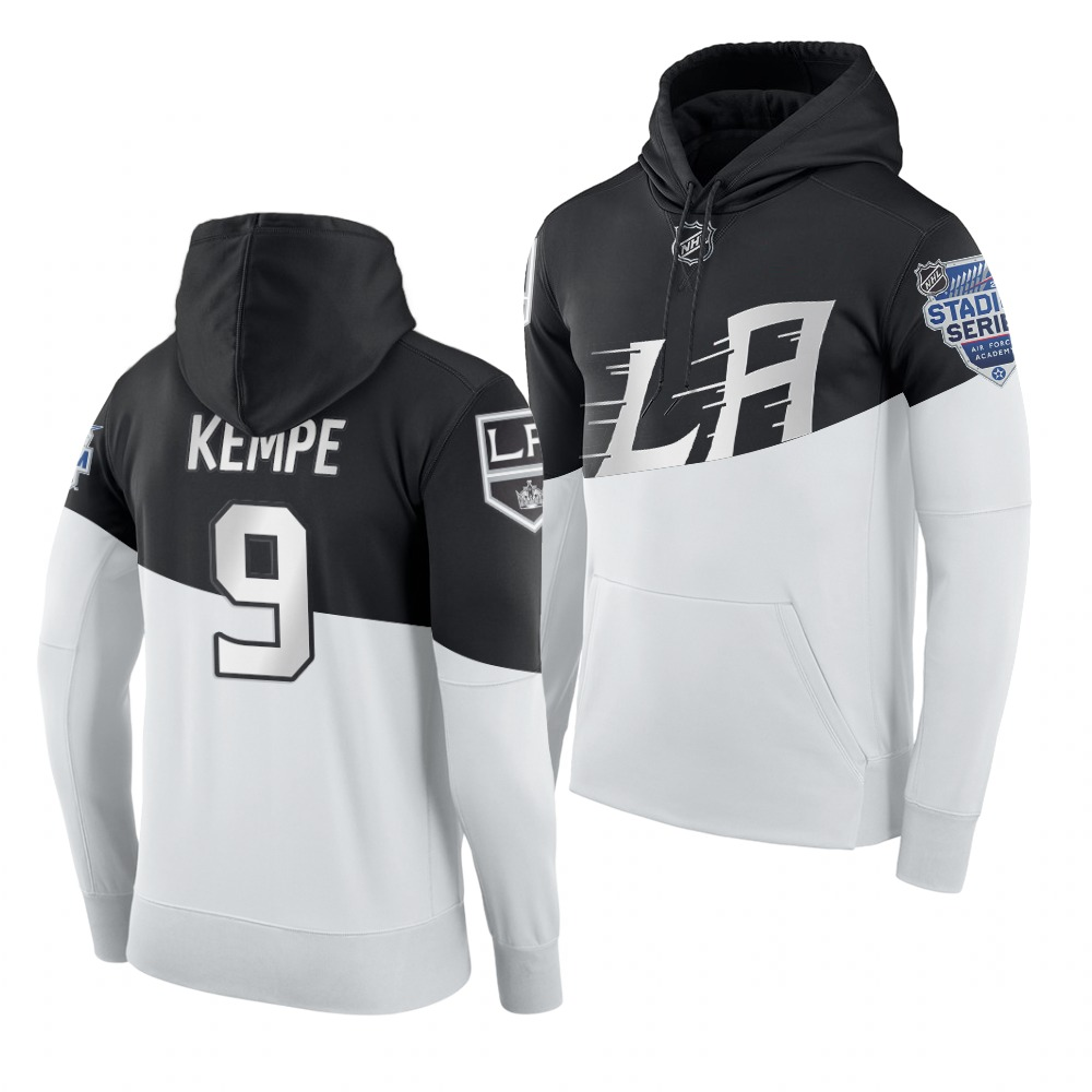 Adidas Los Angeles Kings #9 Adrian Kempe Men's 2020 Stadium Series White Black NHL Hoodie