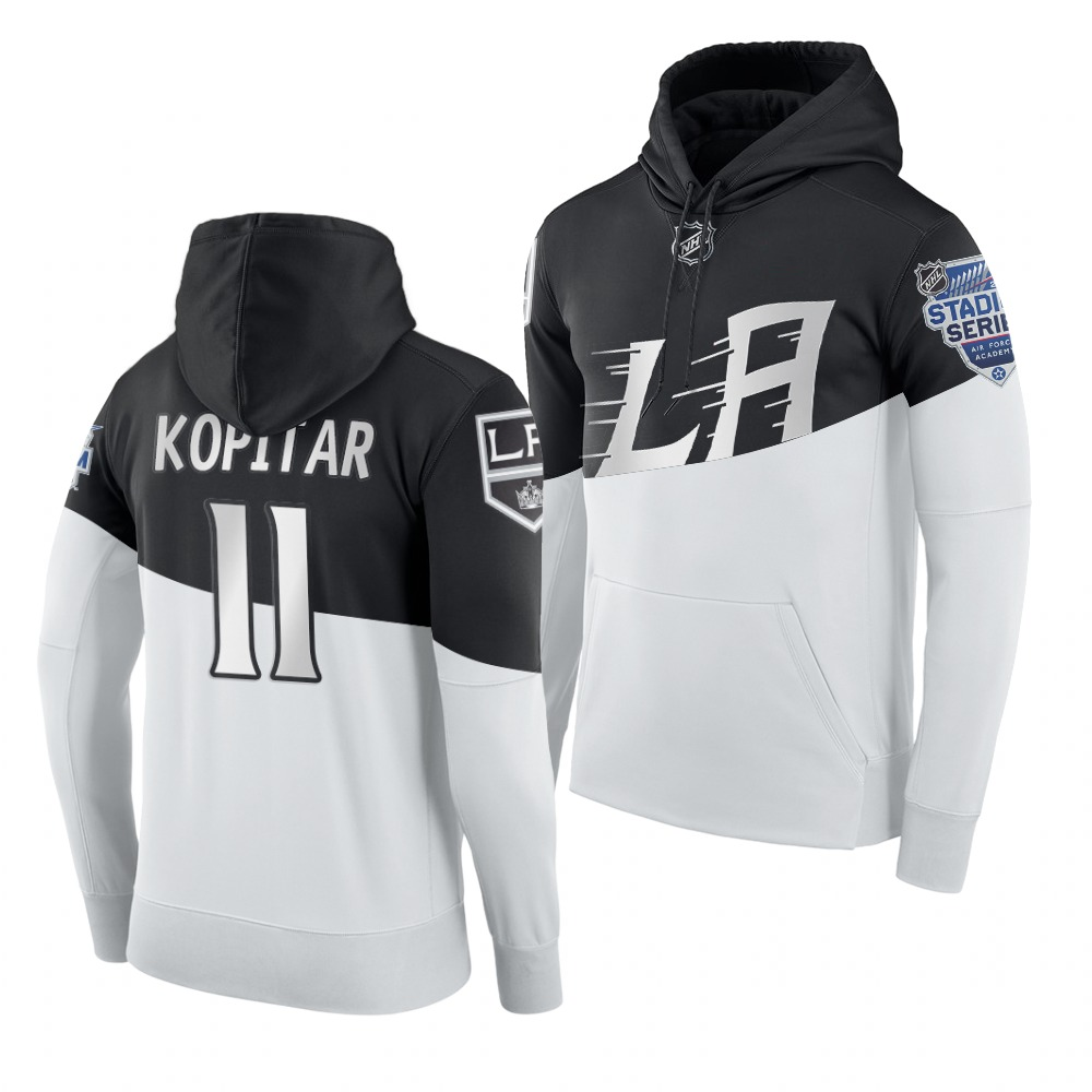 Adidas Los Angeles Kings #11 Anze Kopitar Men's 2020 Stadium Series White Black NHL Hoodie