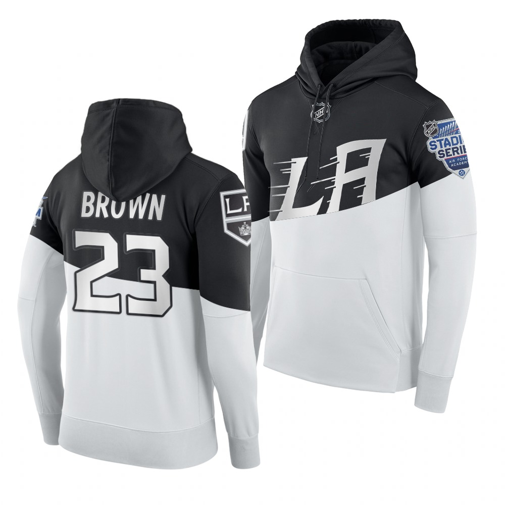 Adidas Los Angeles Kings #23 Dustin Brown Men's 2020 Stadium Series White Black NHL Hoodie