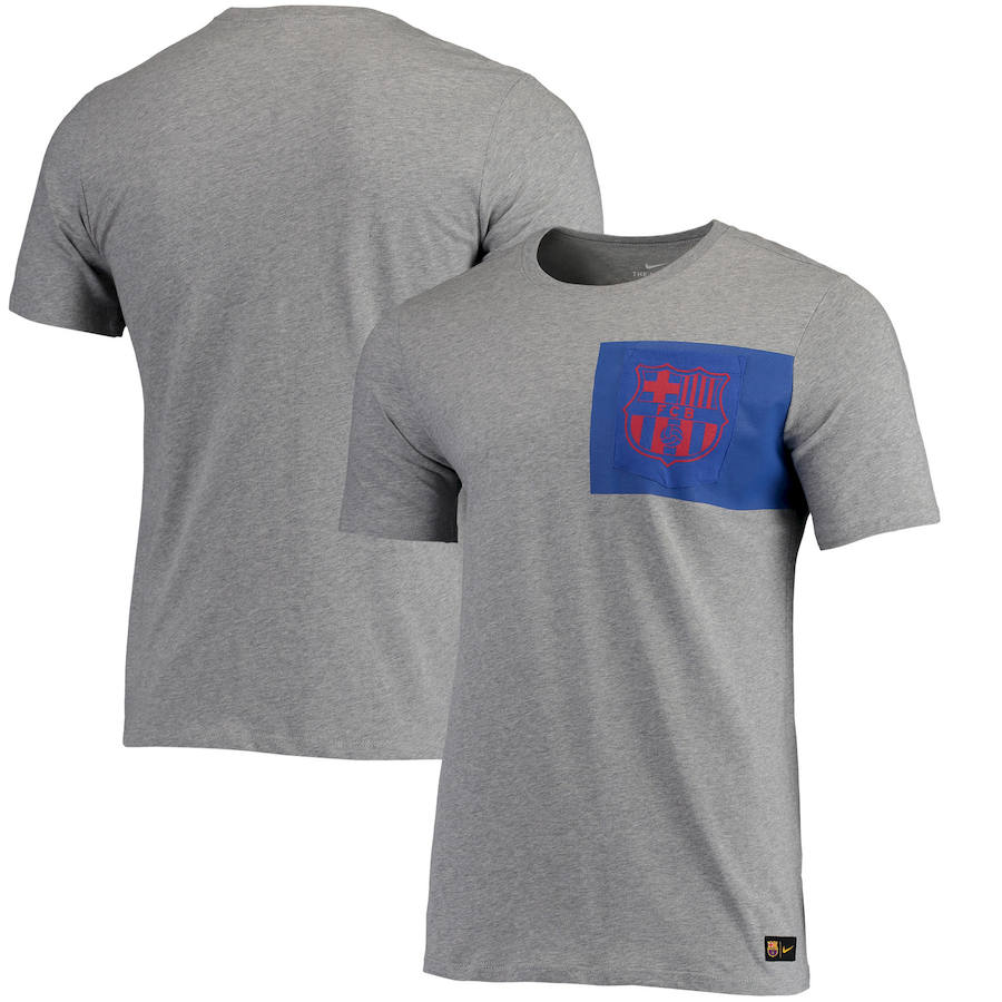 Barcelona Nike Team Crest T-Shirt Heathered Gray