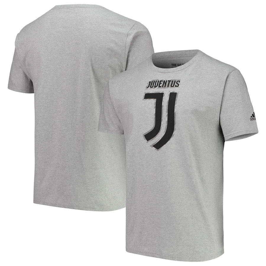 Juventus adidas Brushed Stripes T-Shirt Heathered Gray