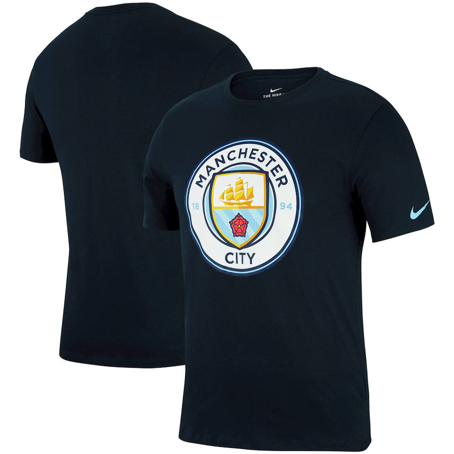 Manchester City Nike Logo Crest T-Shirt Navy