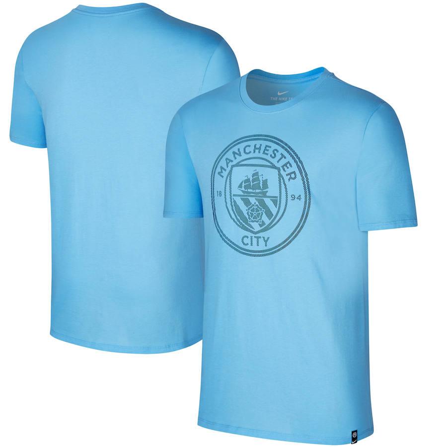 Manchester City Nike Team Crest Performance T-Shirt Blue