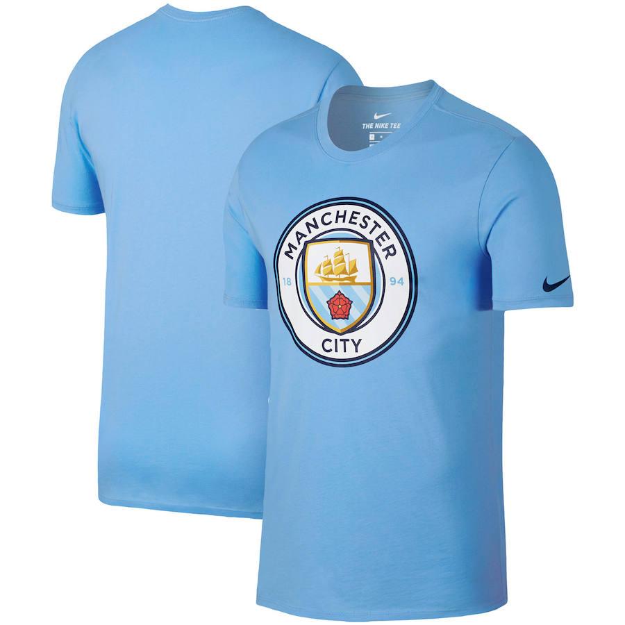 Manchester City Nike Team Crest Performance T-Shirt Light Blue