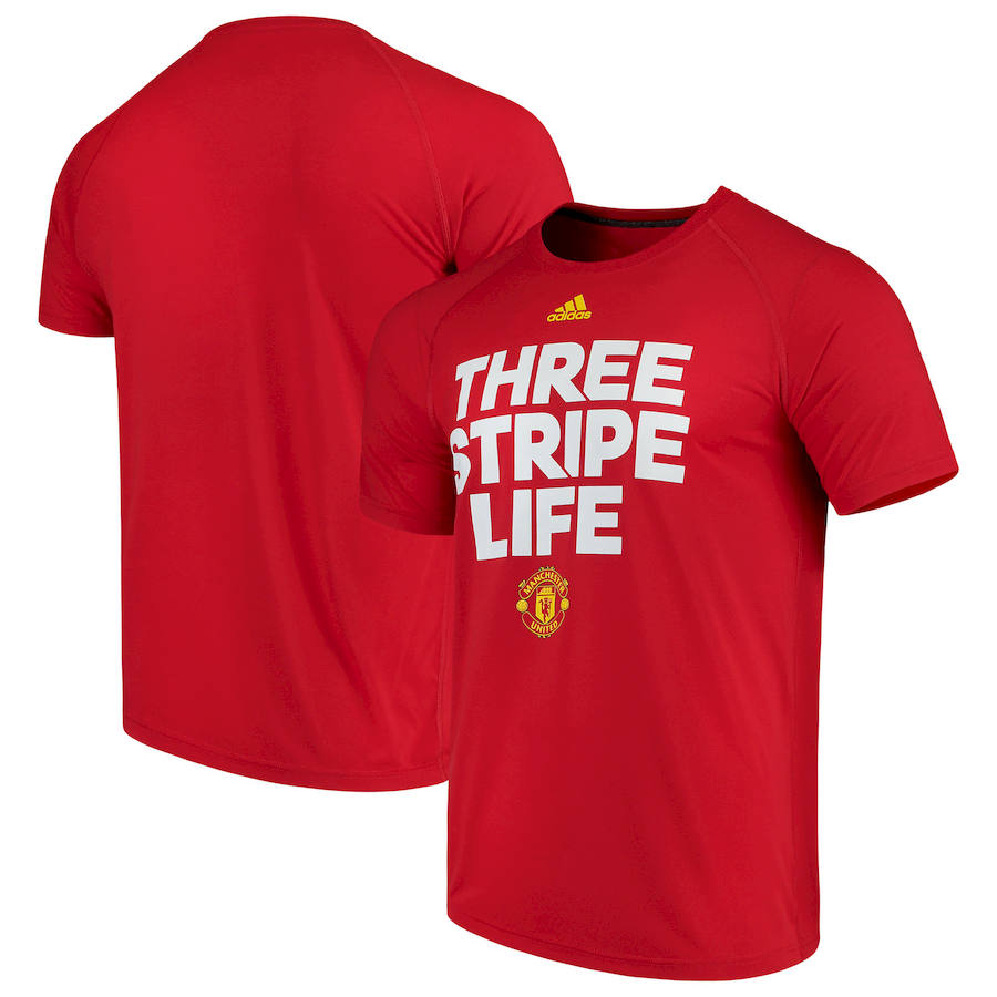Manchester United adidas Ultimate Three Stripe T-Shirt Red