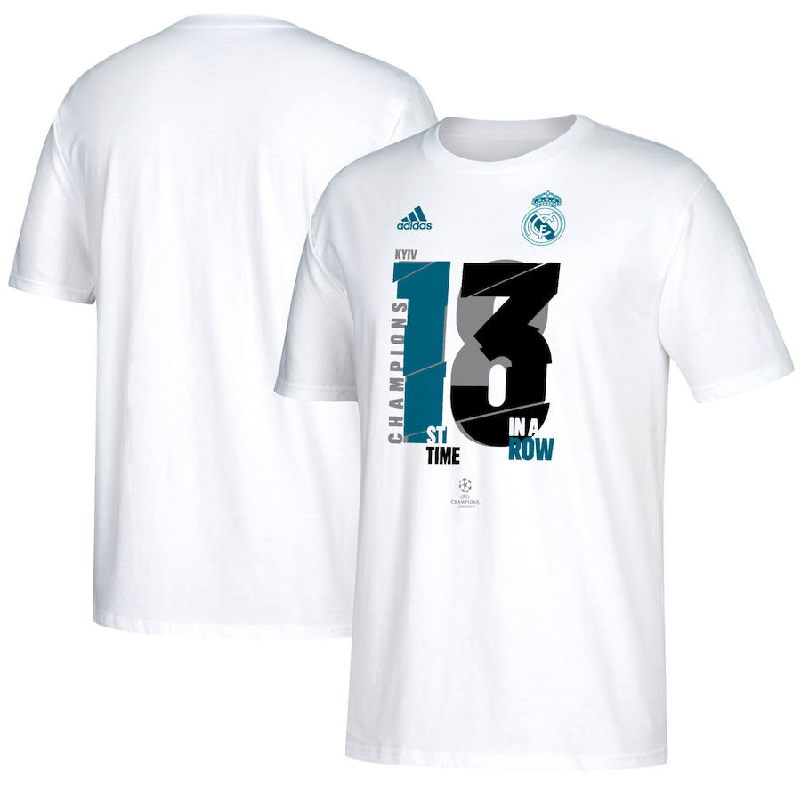 Real Madrid adidas 2018 Champions League Champion T-Shirt White
