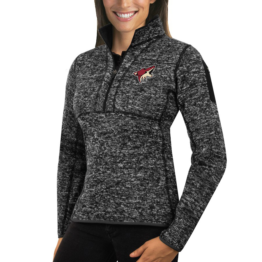 Arizona Coyotes Antigua Women's Fortune 1/2-Zip Pullover Sweater Charcoal