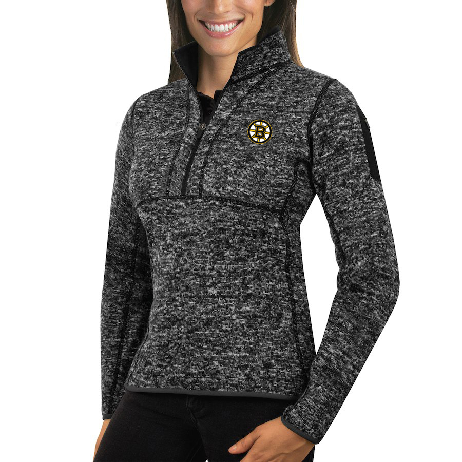 Boston Bruins Antigua Women's Fortune 1/2-Zip Pullover Sweater Charcoal