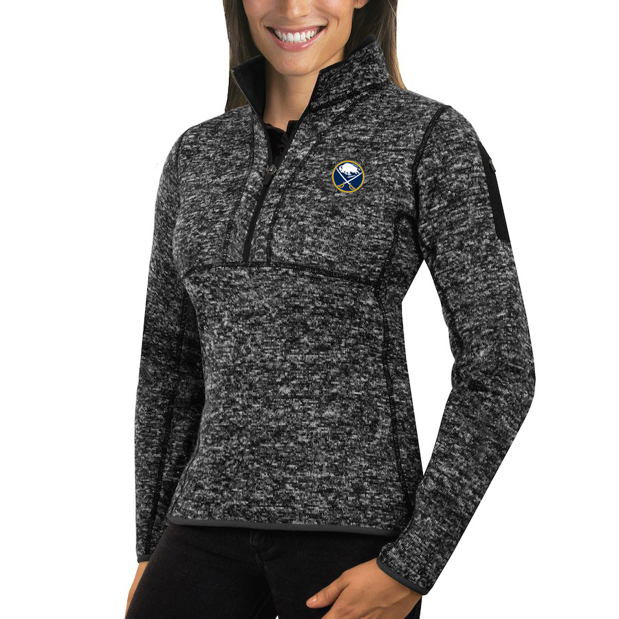 Buffalo Sabres Antigua Women's Fortune 1/2-Zip Pullover Sweater Charcoal