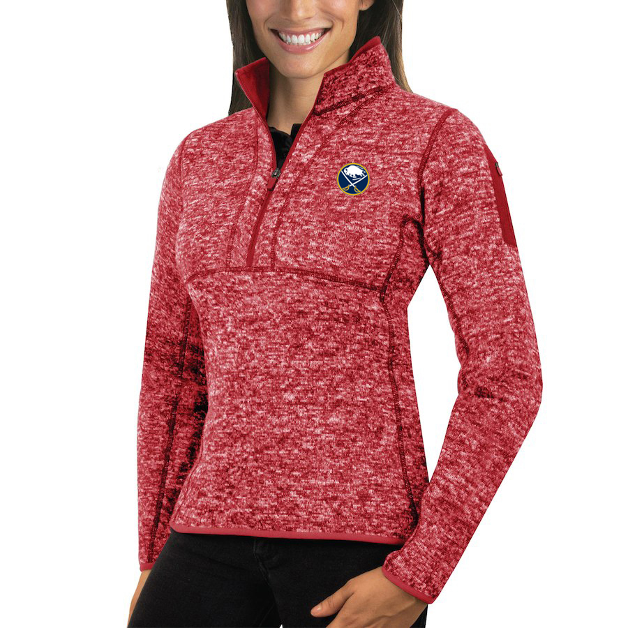 Buffalo Sabres Antigua Women's Fortune 1/2-Zip Pullover Sweater Red