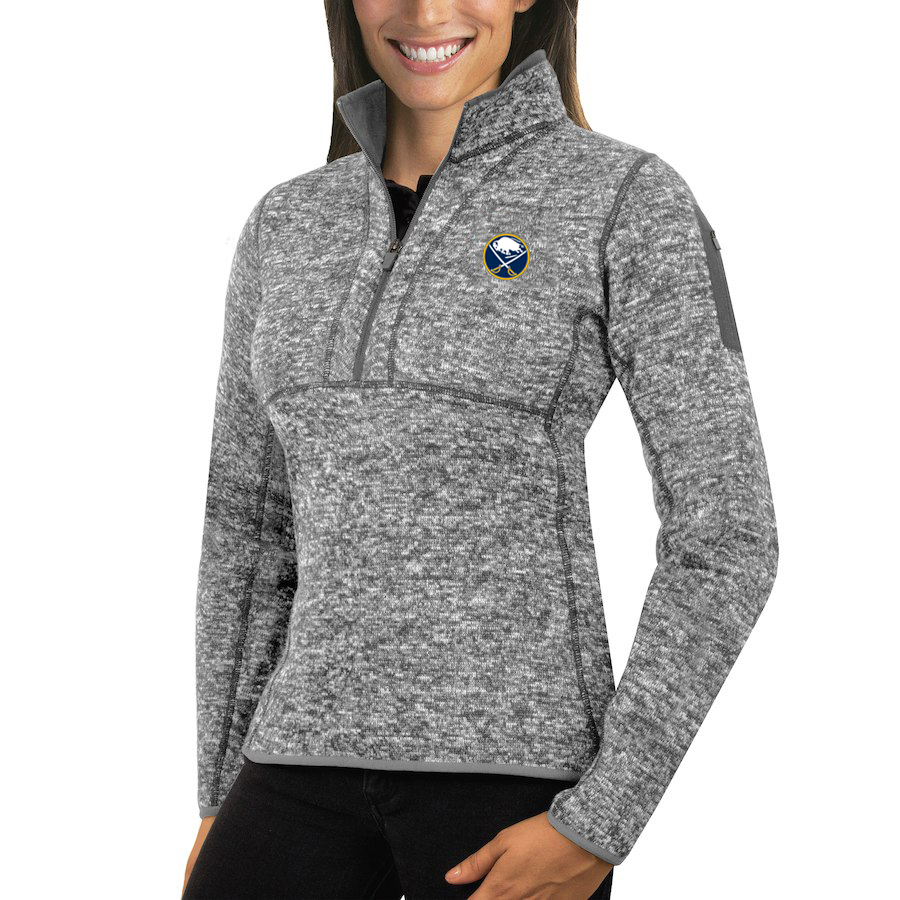 Buffalo Sabres Antigua Women's Fortune 1/2-Zip Pullover Sweater Black