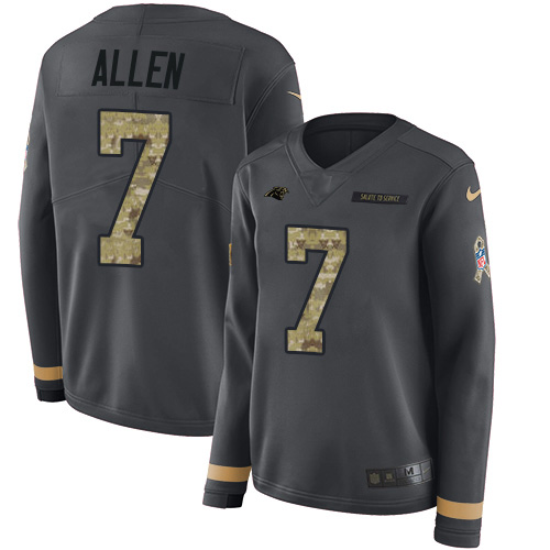 Nike Panthers #7 Kyle Allen Anthracite Salute to Service Women's Stitched NFL Limited Therma Long Sleeve Jersey