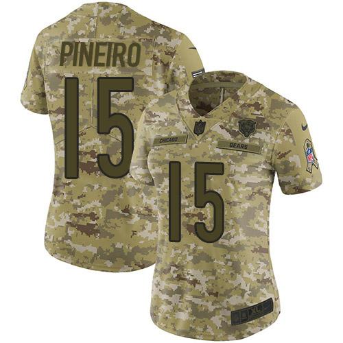 Nike Bears #15 Eddy Pineiro Camo Women's Stitched NFL Limited 2018 Salute to Service Jersey