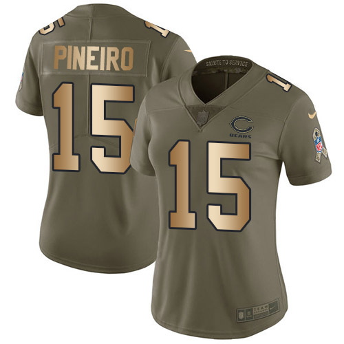 Nike Bears #15 Eddy Pineiro Olive/Gold Women's Stitched NFL Limited 2017 Salute to Service Jersey
