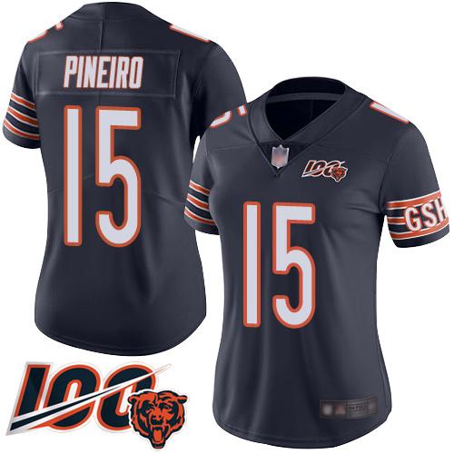 Nike Bears #15 Eddy Pineiro Navy Blue Team Color Women's Stitched NFL 100th Season Vapor Limited Jersey