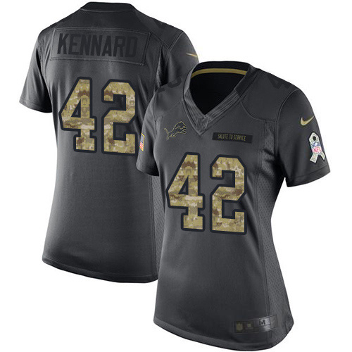 Nike Lions #42 Devon Kennard Black Women's Stitched NFL Limited 2016 Salute to Service Jersey