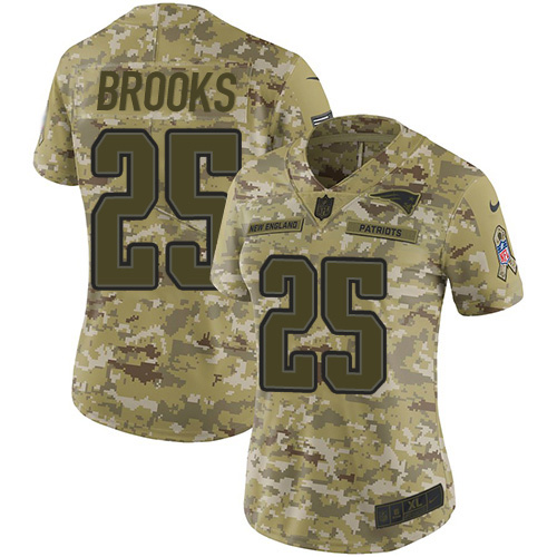 Nike Patriots #25 Terrence Brooks Camo Women's Stitched NFL Limited 2018 Salute to Service Jersey