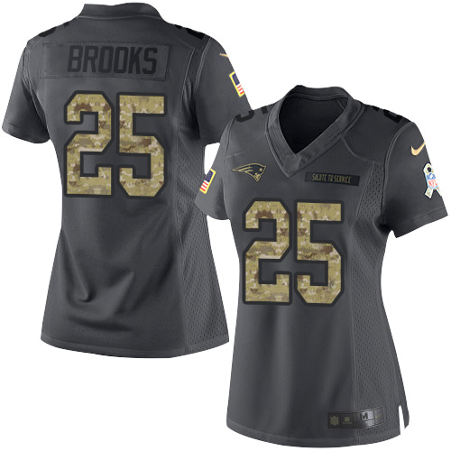 Nike Patriots #25 Terrence Brooks Black Women's Stitched NFL Limited 2016 Salute to Service Jersey