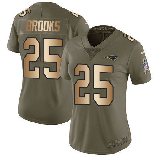 Nike Patriots #25 Terrence Brooks Olive/Gold Women's Stitched NFL Limited 2017 Salute to Service Jersey