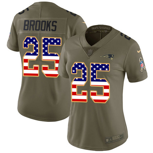Nike Patriots #25 Terrence Brooks Olive/USA Flag Women's Stitched NFL Limited 2017 Salute to Service Jersey