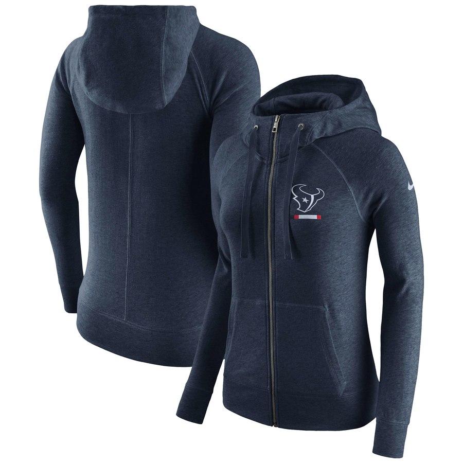 Houston Texans Nike Women's Gym Vintage Full-Zip Hoodie Navy