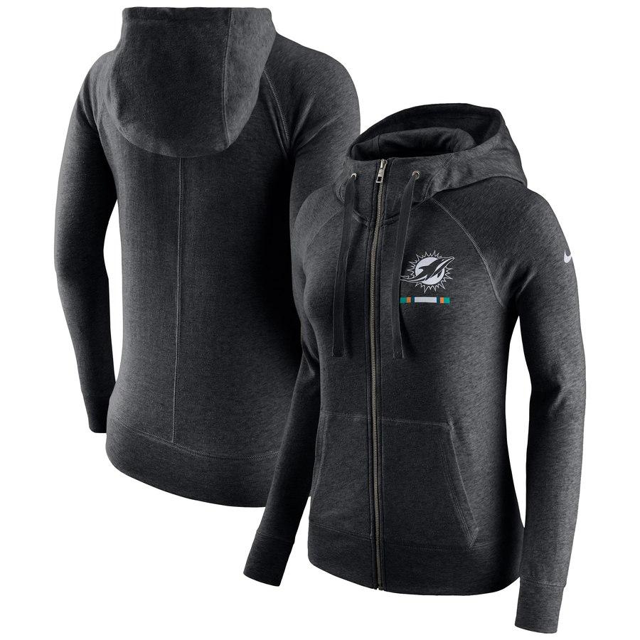 Miami Dolphins Nike Women's Gym Vintage Full-Zip Hoodie Black