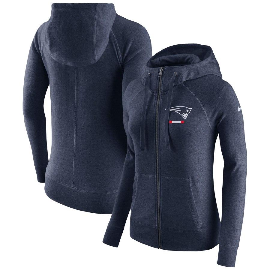 New England Patriots Nike Women's Gym Vintage Full-Zip Hoodie Navy