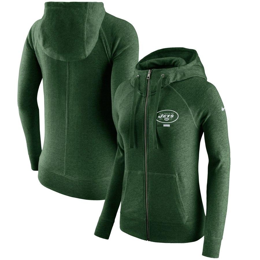 New York Jets Nike Women's Gym Vintage Full-Zip Hoodie Green