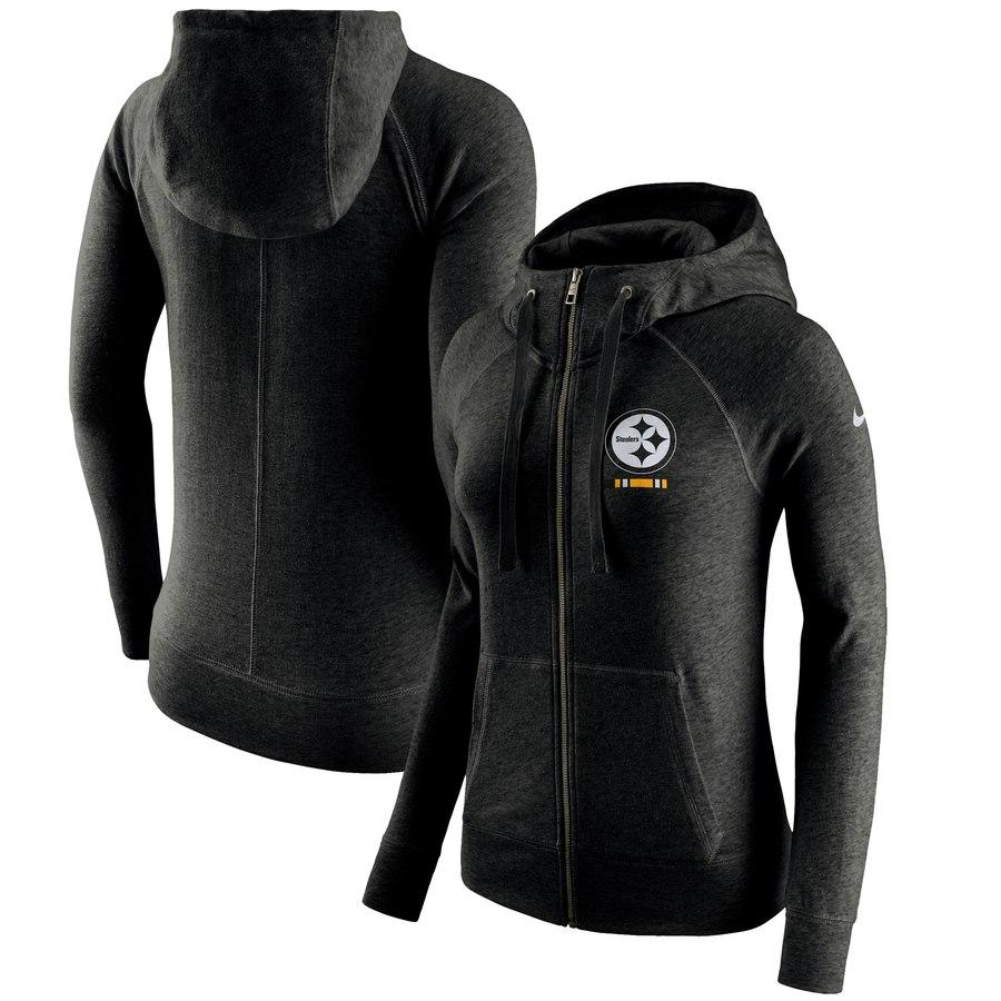Pittsburgh Steelers Nike Women's Gym Vintage Full-Zip Hoodie Black