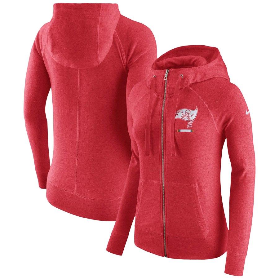 Tampa Bay Buccaneers Nike Women's Gym Vintage Full-Zip Hoodie Red