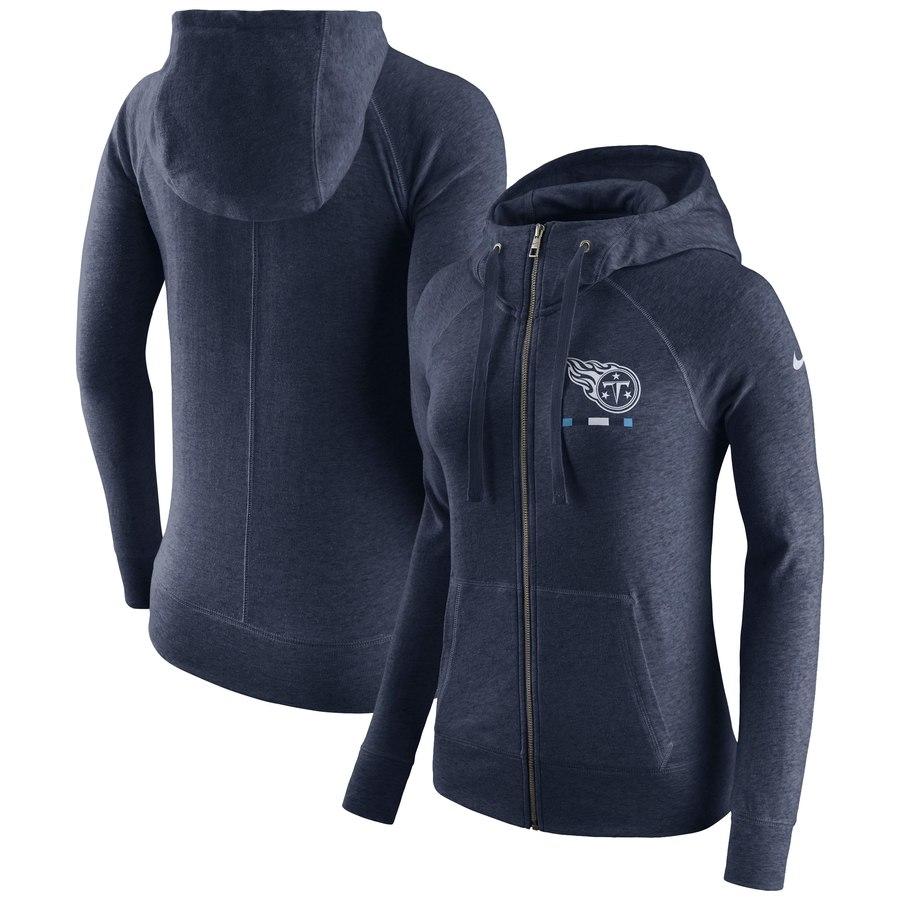 Tennessee Titans Nike Women's Gym Vintage Full-Zip Hoodie Navy