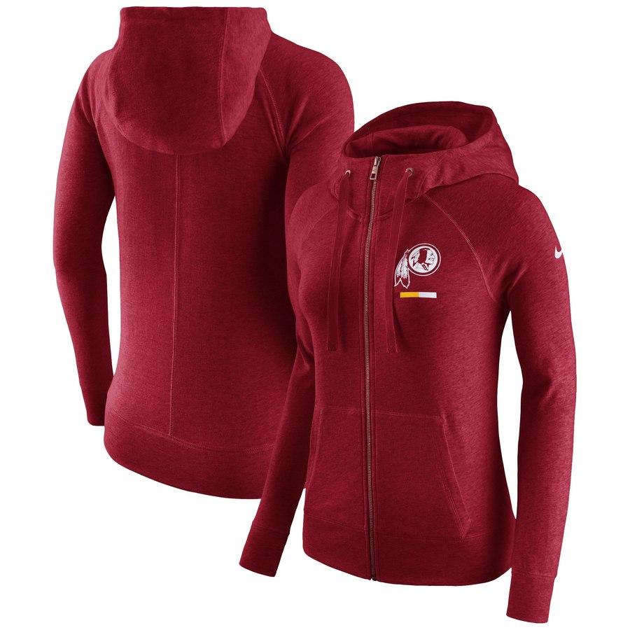 Washington Redskins Nike Women's Gym Vintage Full-Zip Hoodie Burgundy